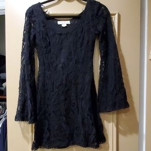 NWOT Black lace mini dress with bell sleeves sz S